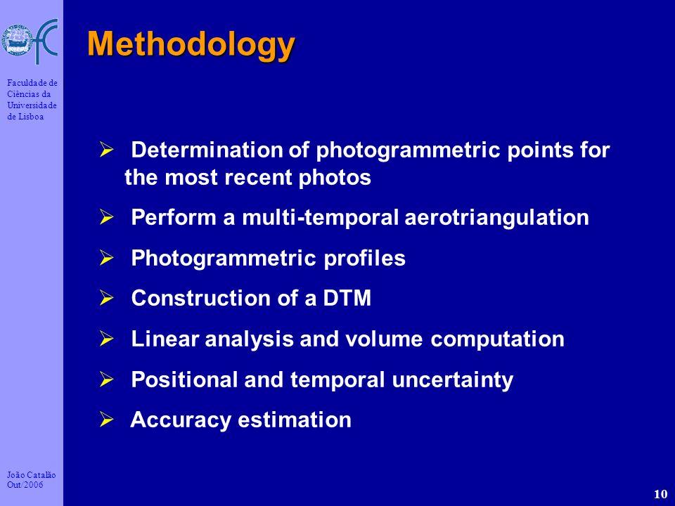 João Catalão Out/2006 Faculdade de Ciências da Universidade de Lisboa 10 Methodology Determination of photogrammetric points for the most recent photo