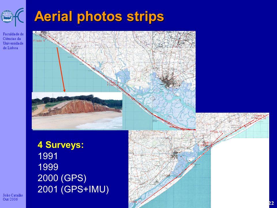 João Catalão Out/2006 Faculdade de Ciências da Universidade de Lisboa 22 Aerial photos strips 4 Surveys: 1991 1999 2000 (GPS) 2001 (GPS+IMU)