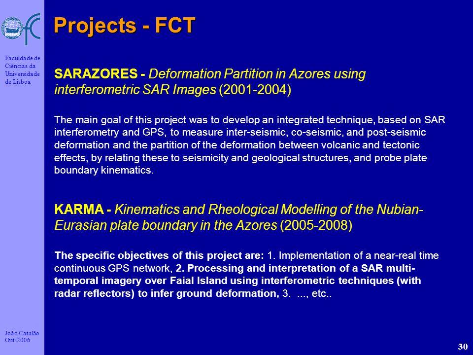 João Catalão Out/2006 Faculdade de Ciências da Universidade de Lisboa 30 Projects - FCT SARAZORES - Deformation Partition in Azores using interferomet