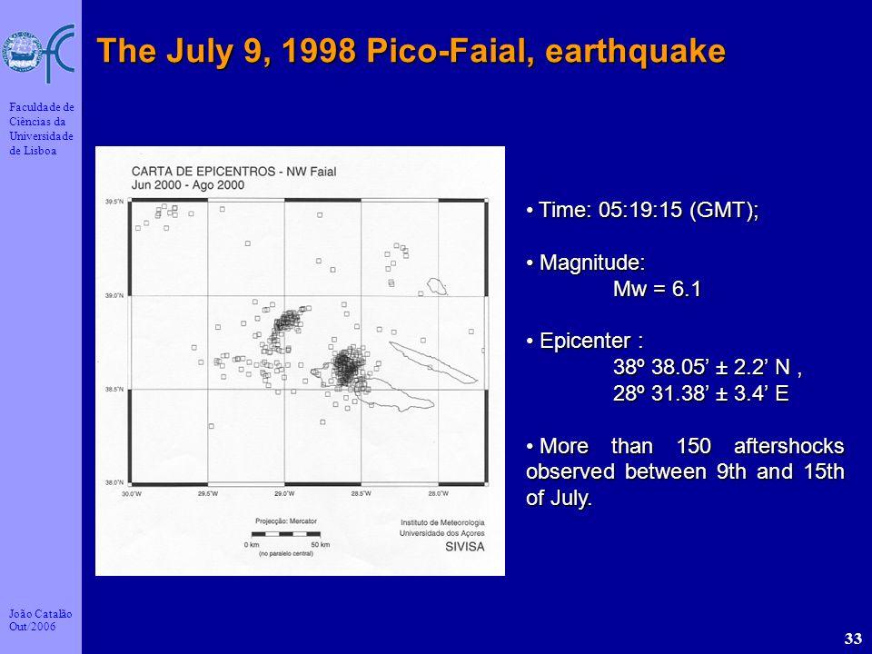 João Catalão Out/2006 Faculdade de Ciências da Universidade de Lisboa 33 The July 9, 1998 Pico-Faial, earthquake Time: 05:19:15 (GMT); Time: 05:19:15