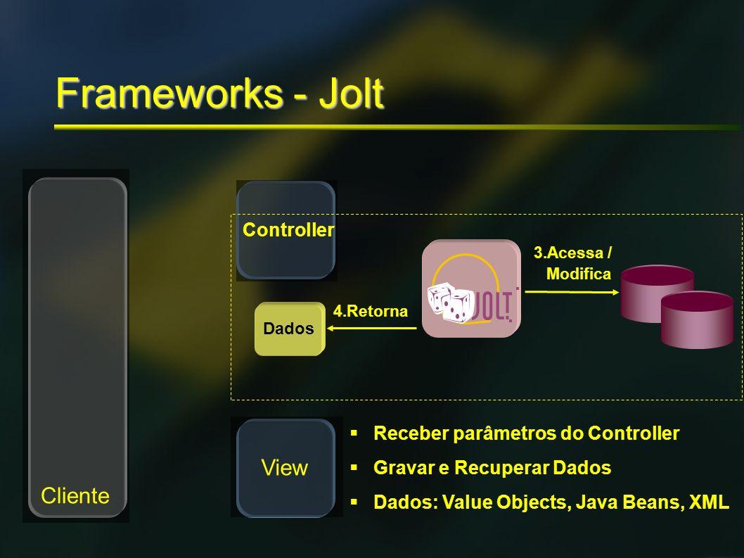 Model Frameworks - Jolt Cliente View Controller 4.Retorna Dados 3.Acessa / Modifica Receber parâmetros do Controller Gravar e Recuperar Dados Dados: V