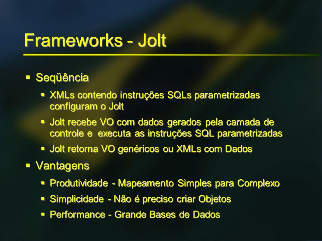 Frameworks - Jolt Seqüência Seqüência XMLs contendo instruções SQLs parametrizadas configuram o Jolt XMLs contendo instruções SQLs parametrizadas conf