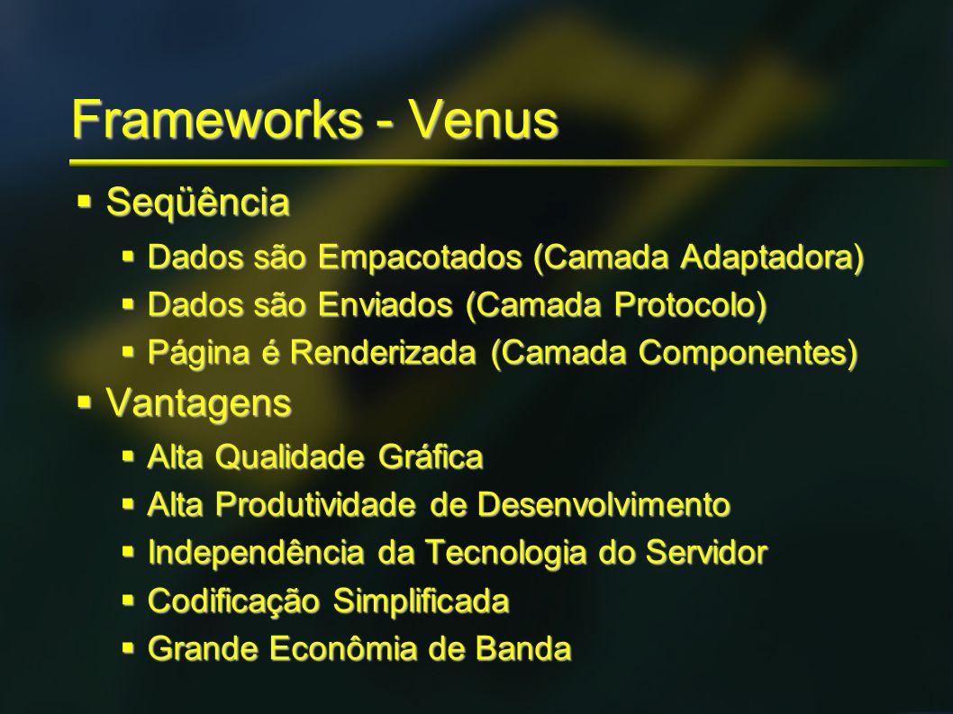 Frameworks - Venus Seqüência Seqüência Dados são Empacotados (Camada Adaptadora) Dados são Empacotados (Camada Adaptadora) Dados são Enviados (Camada