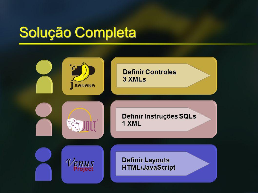 Solução Completa Venus Project Definir Controles 3 XMLs Definir Instruções SQLs 1 XML Definir Layouts HTML/JavaScript