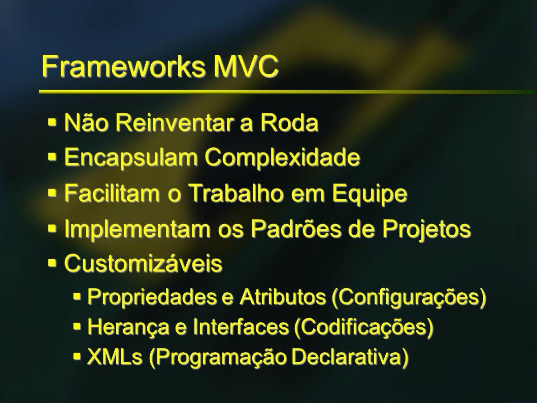 Frameworks MVC Não Reinventar a Roda Não Reinventar a Roda Encapsulam Complexidade Encapsulam Complexidade Facilitam o Trabalho em Equipe Facilitam o