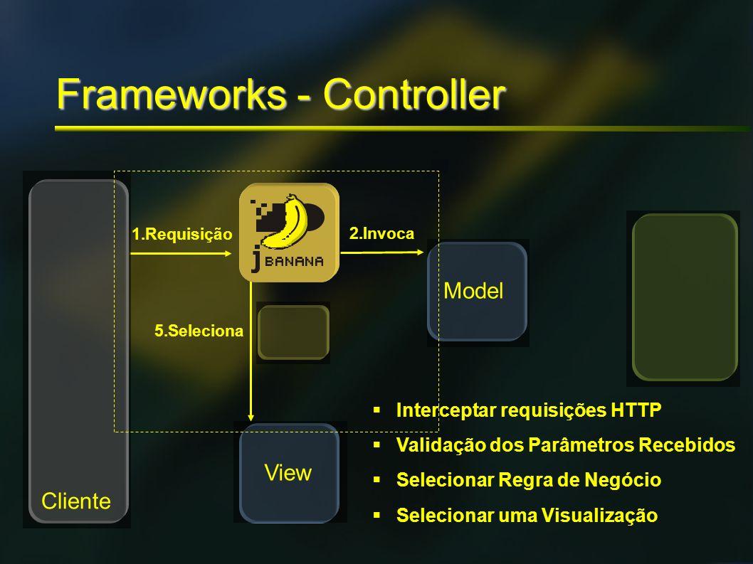 Frameworks - Controller 1.Requisição 2.Invoca 5.Seleciona Cliente Model View Interceptar requisições HTTP Validação dos Parâmetros Recebidos Seleciona