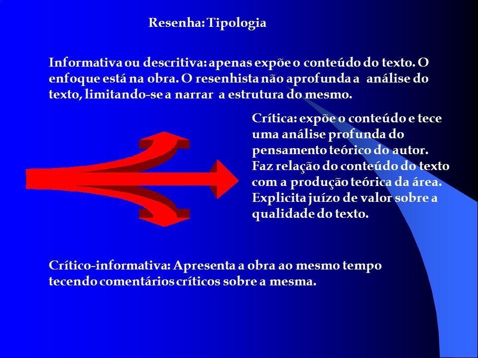 Resenha: Tipologia Informativa ou descritiva: apenas expõe o conteúdo do texto. O enfoque está na obra. O resenhista não aprofunda a análise do texto,