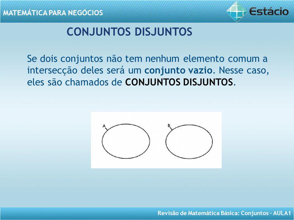 Revisão de Matemática Básica: Conjuntos – AULA1 MATEMÁTICA PARA NEGÓCIOS CONJUNTOS DISJUNTOS Se dois conjuntos não tem nenhum elemento comum a interse