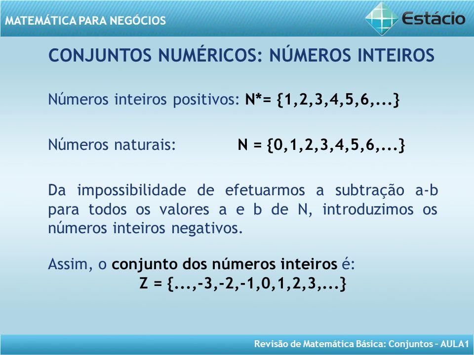Revisão de Matemática Básica: Conjuntos – AULA1 MATEMÁTICA PARA NEGÓCIOS CONJUNTOS NUMÉRICOS: NÚMEROS INTEIROS Números inteiros positivos: N*= {1,2,3,