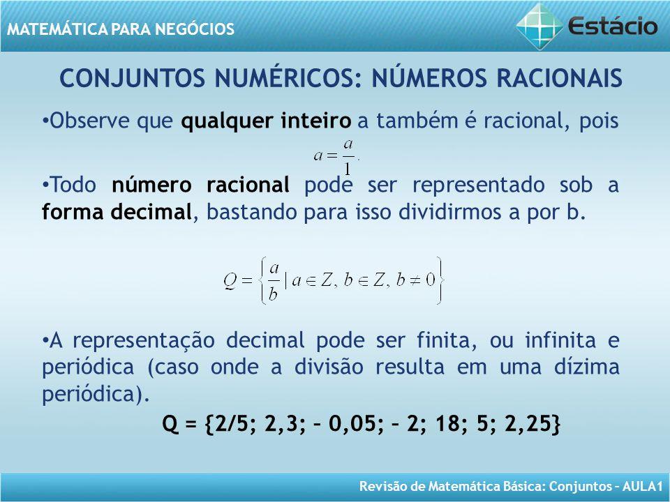 Revisão de Matemática Básica: Conjuntos – AULA1 MATEMÁTICA PARA NEGÓCIOS CONJUNTOS NUMÉRICOS: NÚMEROS RACIONAIS Observe que qualquer inteiro a também
