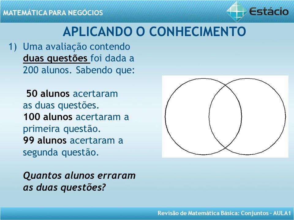 Revisão de Matemática Básica: Conjuntos – AULA1 MATEMÁTICA PARA NEGÓCIOS APLICANDO O CONHECIMENTO 1)Uma avaliação contendo duas questões foi dada a 20