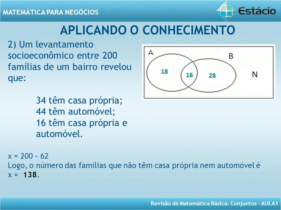 Revisão de Matemática Básica: Conjuntos – AULA1 MATEMÁTICA PARA NEGÓCIOS APLICANDO O CONHECIMENTO 2) Um levantamento socioeconômico entre 200 famílias