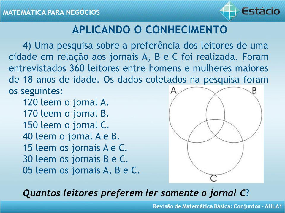 Revisão de Matemática Básica: Conjuntos – AULA1 MATEMÁTICA PARA NEGÓCIOS APLICANDO O CONHECIMENTO 4) Uma pesquisa sobre a preferência dos leitores de