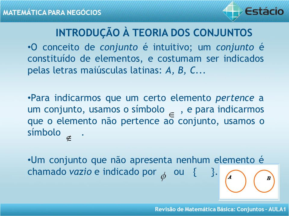 Revisão de Matemática Básica: Conjuntos – AULA1 MATEMÁTICA PARA NEGÓCIOS INTRODUÇÃO À TEORIA DOS CONJUNTOS O conceito de conjunto é intuitivo; um conj