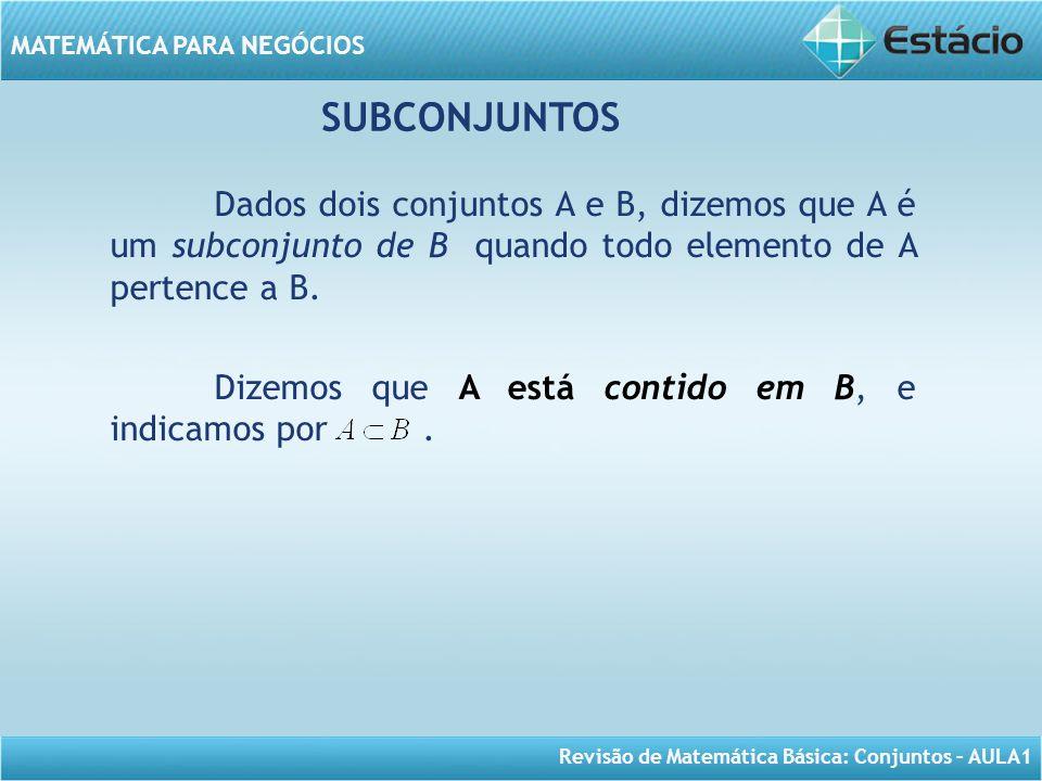 Revisão de Matemática Básica: Conjuntos – AULA1 MATEMÁTICA PARA NEGÓCIOS Dados dois conjuntos A e B, dizemos que A é um subconjunto de B quando todo e