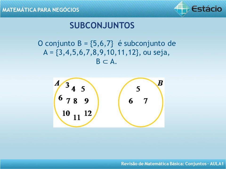 Revisão de Matemática Básica: Conjuntos – AULA1 MATEMÁTICA PARA NEGÓCIOS SUBCONJUNTOS O conjunto B = {5,6,7} é subconjunto de A = {3,4,5,6,7,8,9,10,11