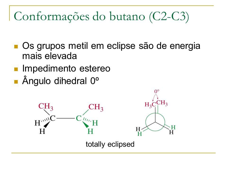 Conformações do butano (C2-C3) Os grupos metil em eclipse são de energia mais elevada Impedimento estereo Ângulo dihedral 0º totally eclipsed