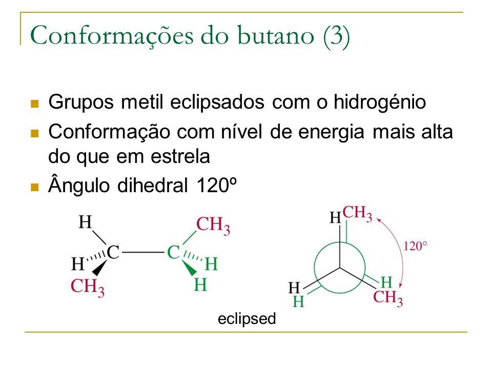 Conformações do butano (3) Grupos metil eclipsados com o hidrogénio Conformação com nível de energia mais alta do que em estrela Ângulo dihedral 120º
