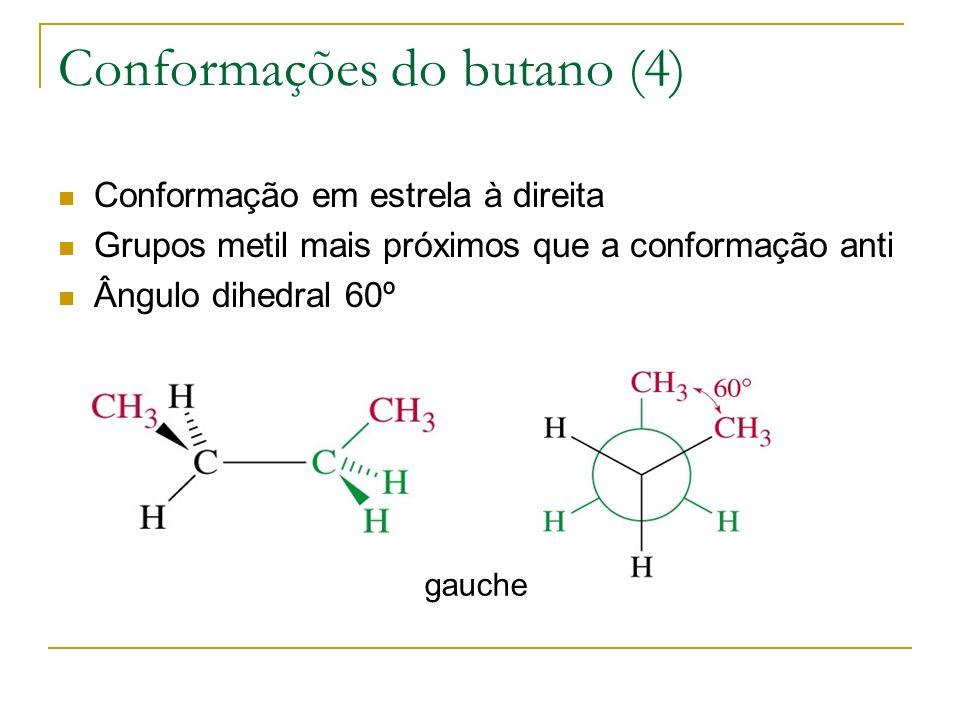 Conformações do butano (4) Conformação em estrela à direita Grupos metil mais próximos que a conformação anti Ângulo dihedral 60º gauche