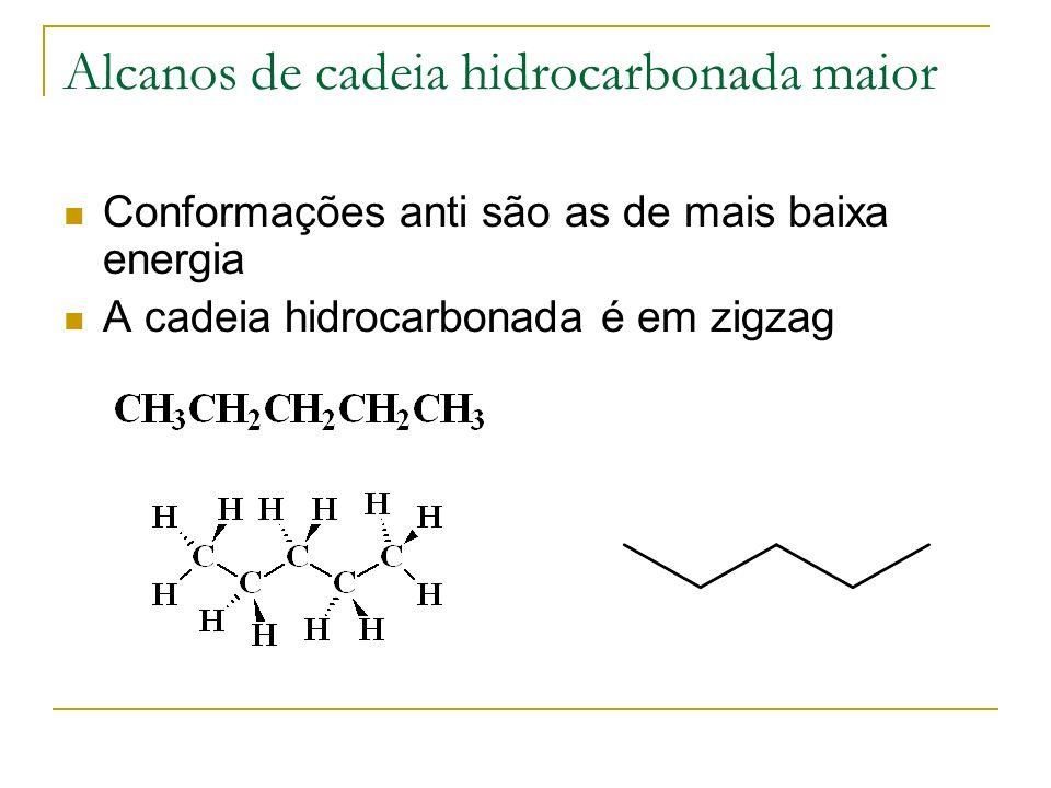 Alcanos de cadeia hidrocarbonada maior Conformações anti são as de mais baixa energia A cadeia hidrocarbonada é em zigzag