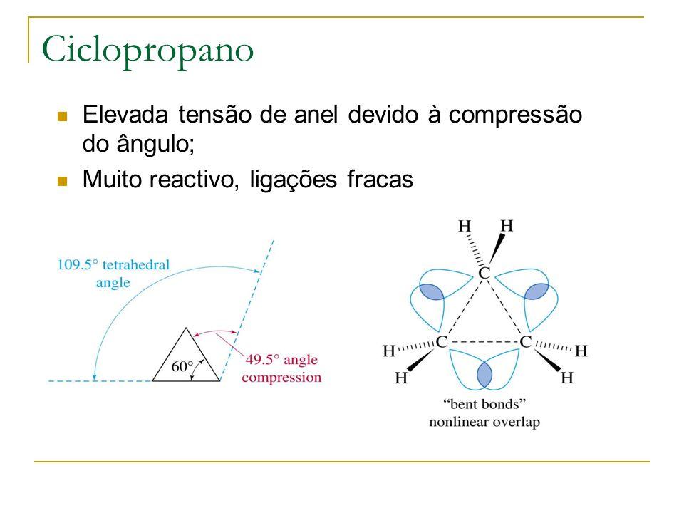 Ciclopropano Elevada tensão de anel devido à compressão do ângulo; Muito reactivo, ligações fracas