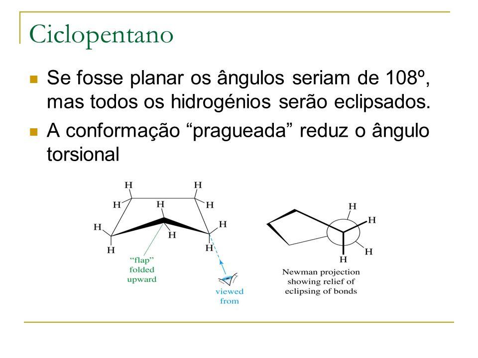 Ciclopentano Se fosse planar os ângulos seriam de 108º, mas todos os hidrogénios serão eclipsados. A conformação pragueada reduz o ângulo torsional