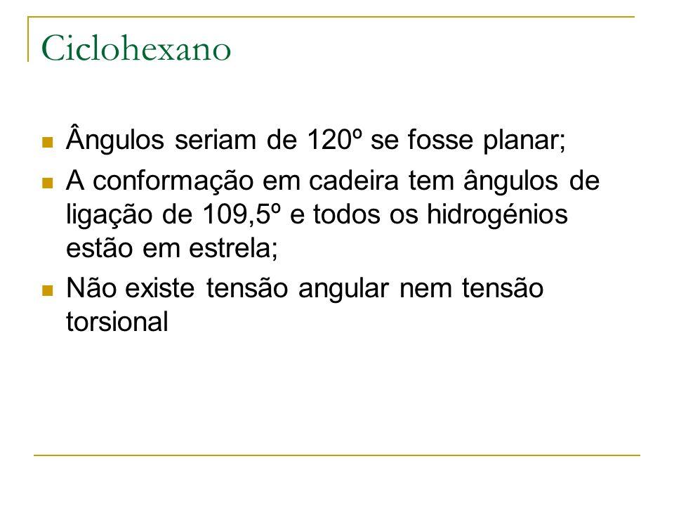 Ciclohexano Ângulos seriam de 120º se fosse planar; A conformação em cadeira tem ângulos de ligação de 109,5º e todos os hidrogénios estão em estrela;