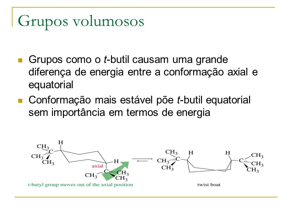 Grupos volumosos Grupos como o t-butil causam uma grande diferença de energia entre a conformação axial e equatorial Conformação mais estável põe t-bu