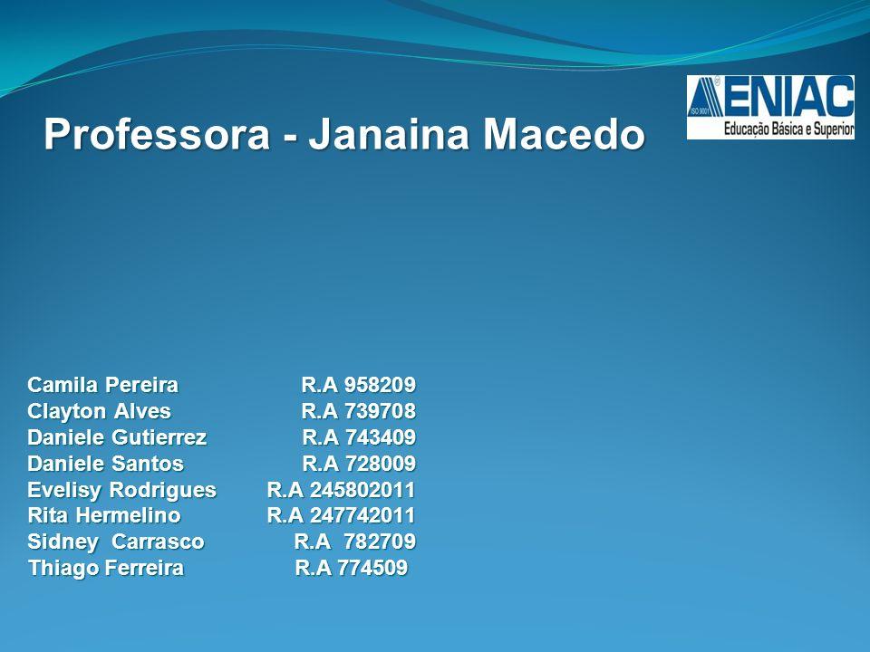 Camila Pereira R.A 958209 Clayton Alves R.A 739708 Daniele Gutierrez R.A 743409 Daniele Santos R.A 728009 Evelisy Rodrigues R.A 245802011 Rita Hermeli