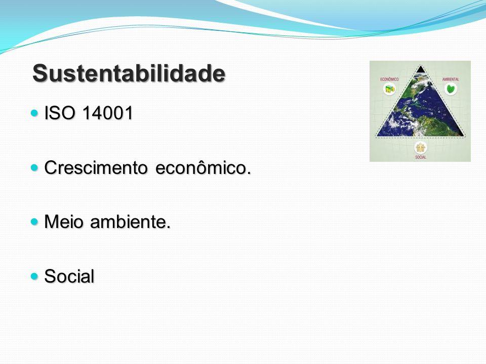 Sustentabilidade ISO 14001 ISO 14001 O que está previsto na lei que não é cumprido O que está previsto na lei que não é cumprido Lei nacional dos resíduos sólidos 12305 (sancionada em 02/08/2010) Responsabilidade do governo fiscalizar coleta de tudo o que foi fabricado para finalização do ciclo produtivo, evitando danos à natureza.