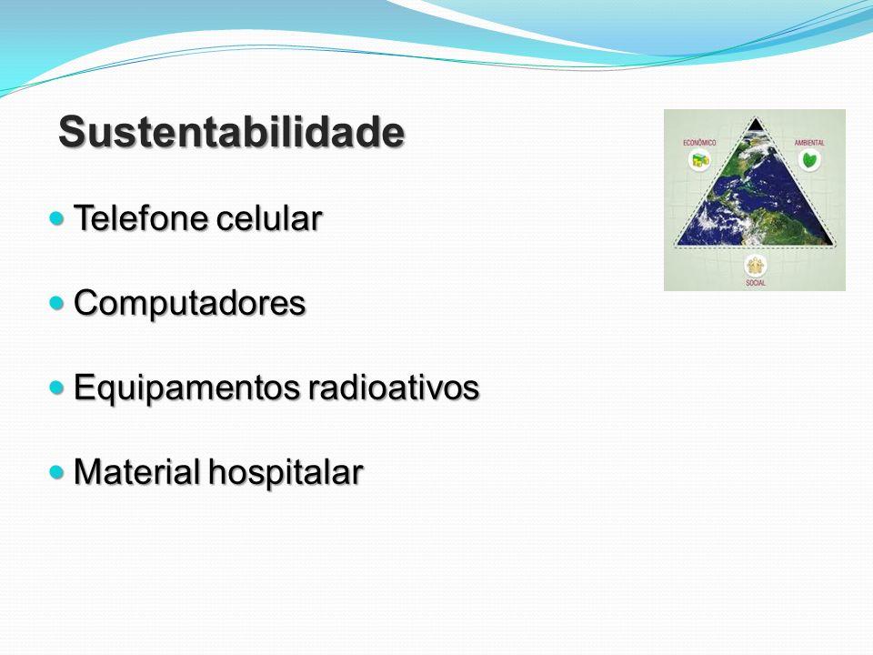Sustentabilidade Telefone celular Telefone celular Computadores Computadores Equipamentos radioativos Equipamentos radioativos Material hospitalar Mat