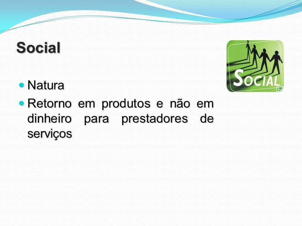 Social Natura Natura Retorno em produtos e não em dinheiro para prestadores de serviços Retorno em produtos e não em dinheiro para prestadores de serv