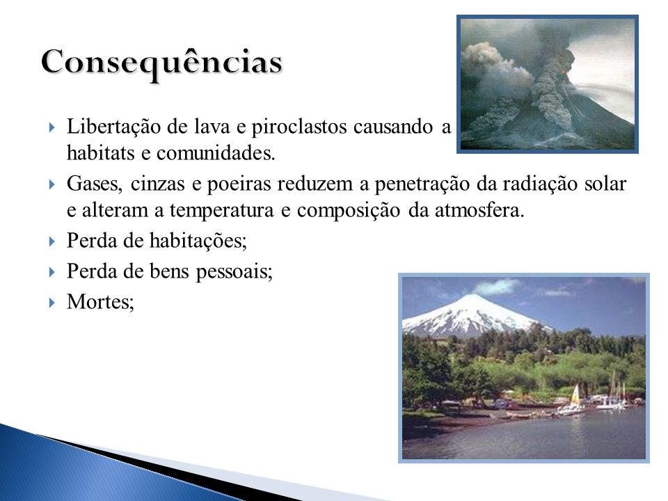 Libertação de lava e piroclastos causando a destruição de habitats e comunidades. Gases, cinzas e poeiras reduzem a penetração da radiação solar e alt