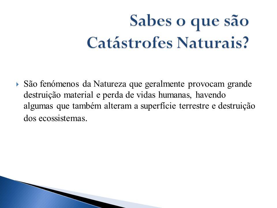 São fenómenos da Natureza que geralmente provocam grande destruição material e perda de vidas humanas, havendo algumas que também alteram a superfície