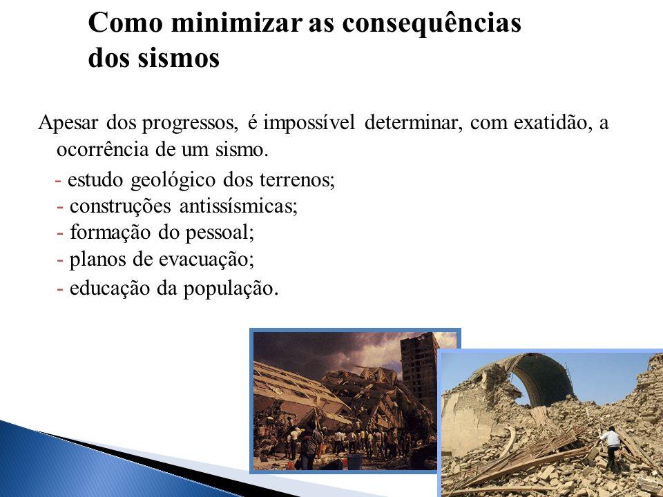 Apesar dos progressos, é impossível determinar, com exatidão, a ocorrência de um sismo. - estudo geológico dos terrenos; - construções antissísmicas;