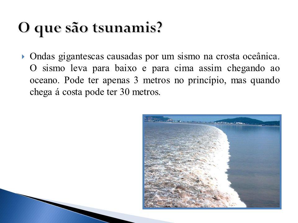 Ondas gigantescas causadas por um sismo na crosta oceânica. O sismo leva para baixo e para cima assim chegando ao oceano. Pode ter apenas 3 metros no
