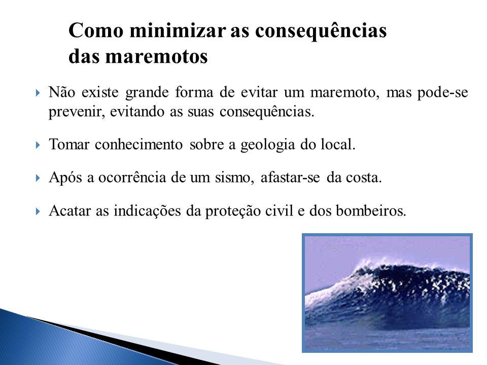 Não existe grande forma de evitar um maremoto, mas pode-se prevenir, evitando as suas consequências. Tomar conhecimento sobre a geologia do local. Apó