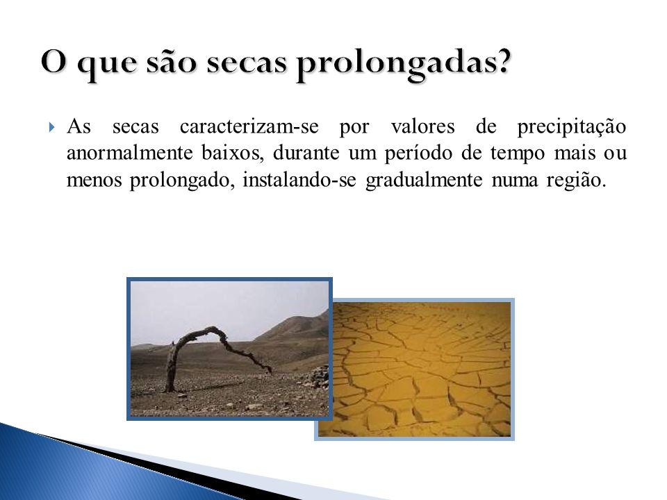 As secas caracterizam-se por valores de precipitação anormalmente baixos, durante um período de tempo mais ou menos prolongado, instalando-se gradualm