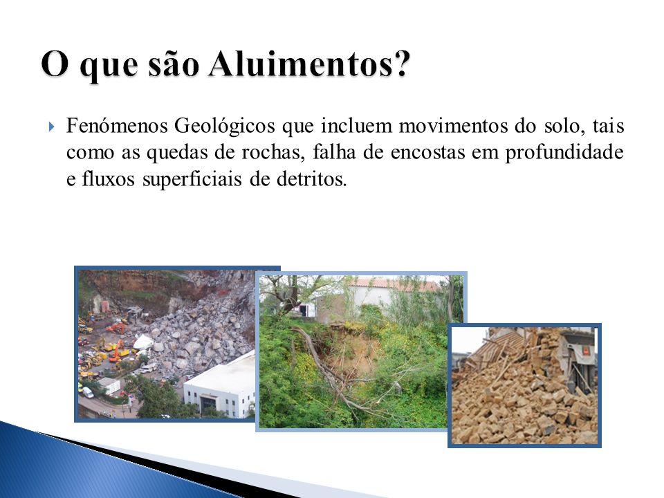 Fenómenos Geológicos que incluem movimentos do solo, tais como as quedas de rochas, falha de encostas em profundidade e fluxos superficiais de detrito