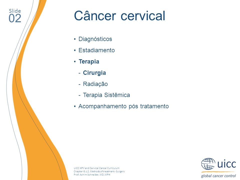 UICC HPV and Cervical Cancer Curriculum Chapter 6.c.2. Methods of treatment - Surgery Prof. Achim Schneider, MD, MPH Slide 02 Câncer cervical Diagnóst