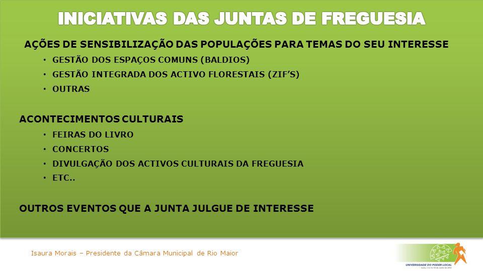 AÇÕES DE SENSIBILIZAÇÃO DAS POPULAÇÕES PARA TEMAS DO SEU INTERESSE GESTÃO DOS ESPAÇOS COMUNS (BALDIOS) GESTÃO INTEGRADA DOS ACTIVO FLORESTAIS (ZIFS) OUTRAS ACONTECIMENTOS CULTURAIS FEIRAS DO LIVRO CONCERTOS DIVULGAÇÃO DOS ACTIVOS CULTURAIS DA FREGUESIA ETC..