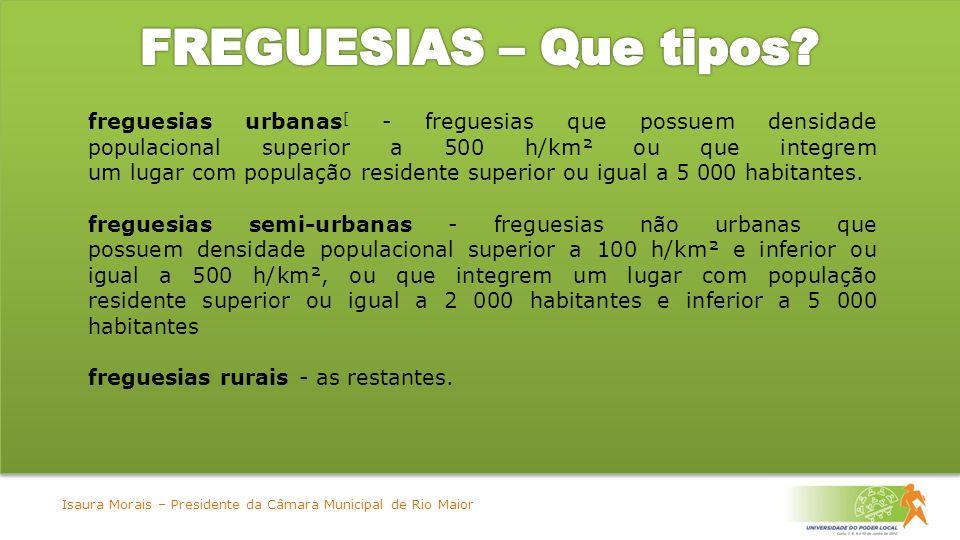 freguesias urbanas [ - freguesias que possuem densidade populacional superior a 500 h/km² ou que integrem um lugar com população residente superior ou igual a 5 000 habitantes.