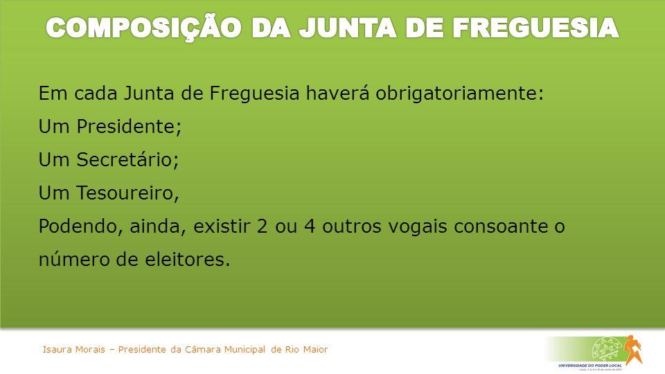 Em cada Junta de Freguesia haverá obrigatoriamente: Um Presidente; Um Secretário; Um Tesoureiro, Podendo, ainda, existir 2 ou 4 outros vogais consoante o número de eleitores.