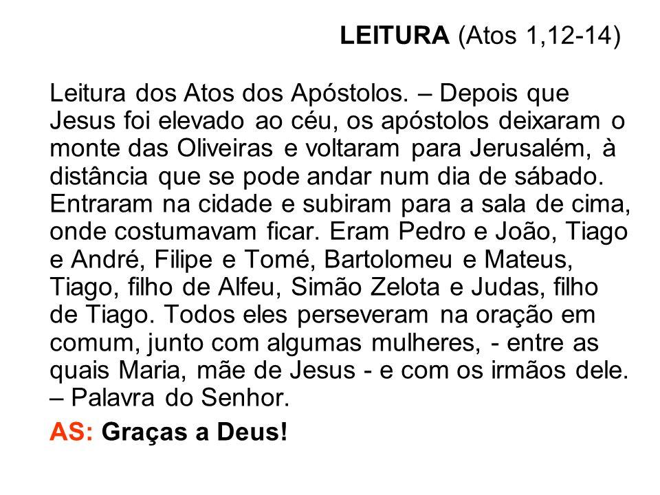 LEITURA (Atos 1,12-14) Leitura dos Atos dos Apóstolos. – Depois que Jesus foi elevado ao céu, os apóstolos deixaram o monte das Oliveiras e voltaram p