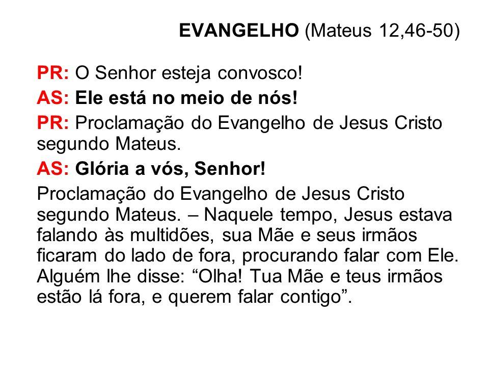 EVANGELHO (Mateus 12,46-50) PR: O Senhor esteja convosco! AS: Ele está no meio de nós! PR: Proclamação do Evangelho de Jesus Cristo segundo Mateus. AS