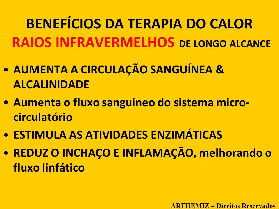 12 BENEFÍCIOS DA TERAPIA DO CALOR RAIOS INFRAVERMELHOS DE LONGO ALCANCE AUMENTA A CIRCULAÇÃO SANGUÍNEA & ALCALINIDADE Aumenta o fluxo sanguíneo do sis