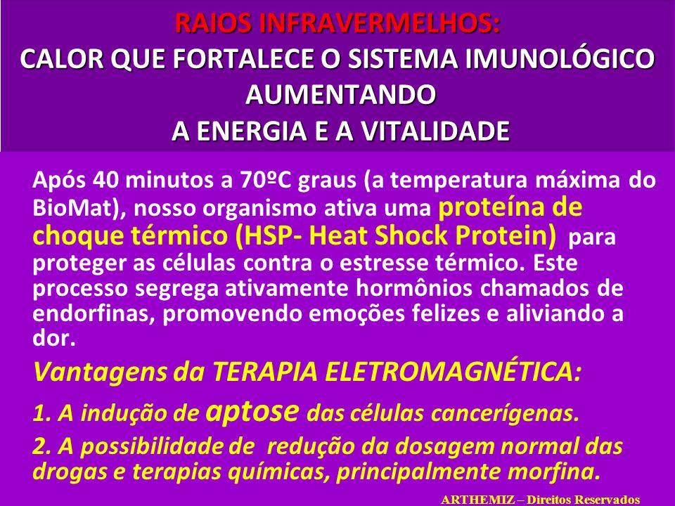 RAIOS INFRAVERMELHOS: CALOR QUE FORTALECE O SISTEMA IMUNOLÓGICO AUMENTANDO A ENERGIA E A VITALIDADE Após 40 minutos a 70ºC graus (a temperatura máxima