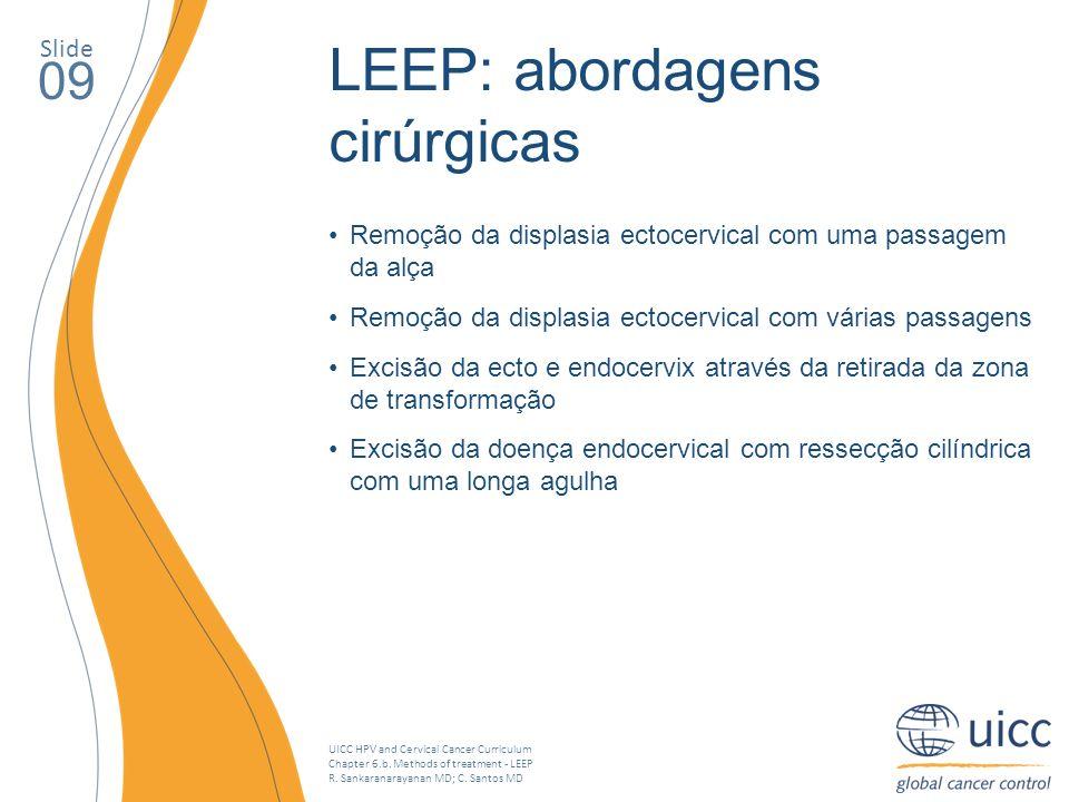 UICC HPV and Cervical Cancer Curriculum Chapter 6.b. Methods of treatment - LEEP R. Sankaranarayanan MD; C. Santos MD Slide 09 LEEP: abordagens cirúrg