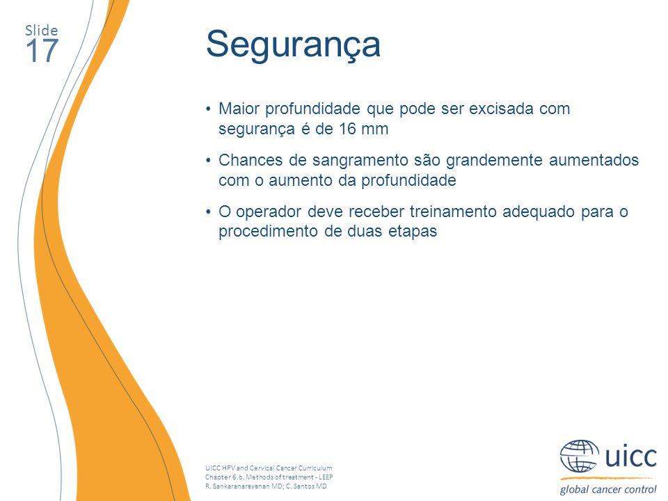 UICC HPV and Cervical Cancer Curriculum Chapter 6.b. Methods of treatment - LEEP R. Sankaranarayanan MD; C. Santos MD Slide 17 Segurança Maior profund