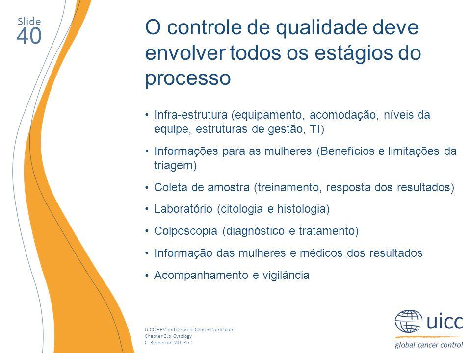 UICC HPV and Cervical Cancer Curriculum Chapter 2.b. Cytology C. Bergeron, MD, PhD O controle de qualidade deve envolver todos os estágios do processo